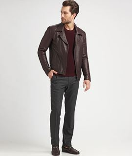 Picture of Leather Pilot Jacket With Removable Borg Collar